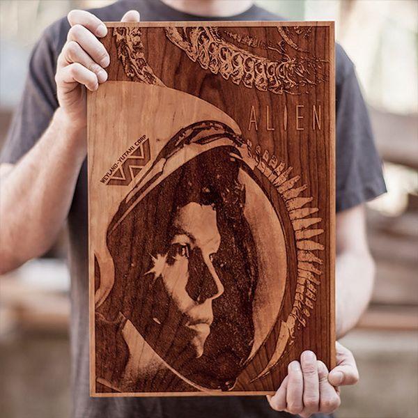 激光切割打造精致木版电影海报