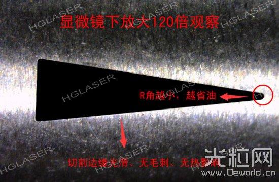 华工激光LCF150QCI切割喷油嘴并放大120倍以后的效果