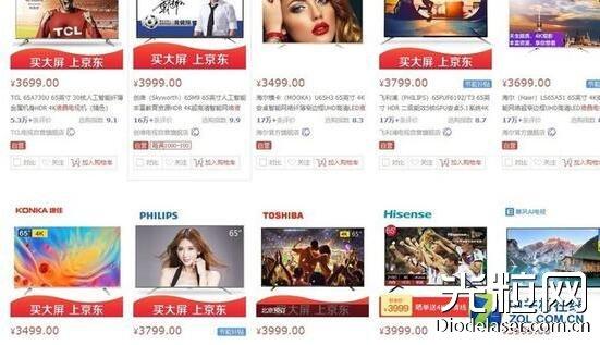 65吋液晶电视的价格要比激光电视便宜很多(图源:京东)