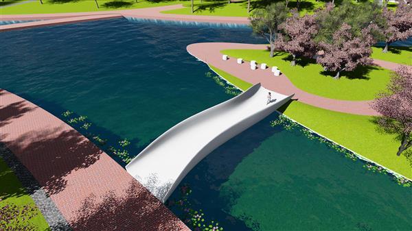 全球最大塑料3D打印机30天制造湖上人行天桥