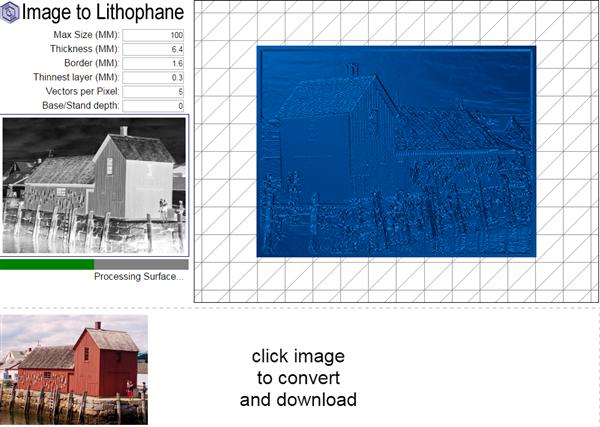 可把任意图片变成可3D打印的透光浮雕的免费程序