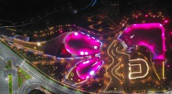 广东梅州城市展览馆和科学技术馆调试亮灯